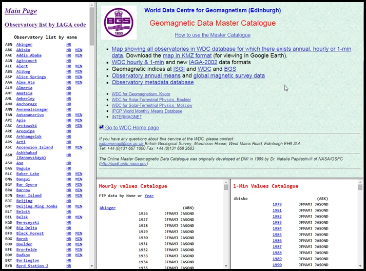 Screenshot of data catalogue page